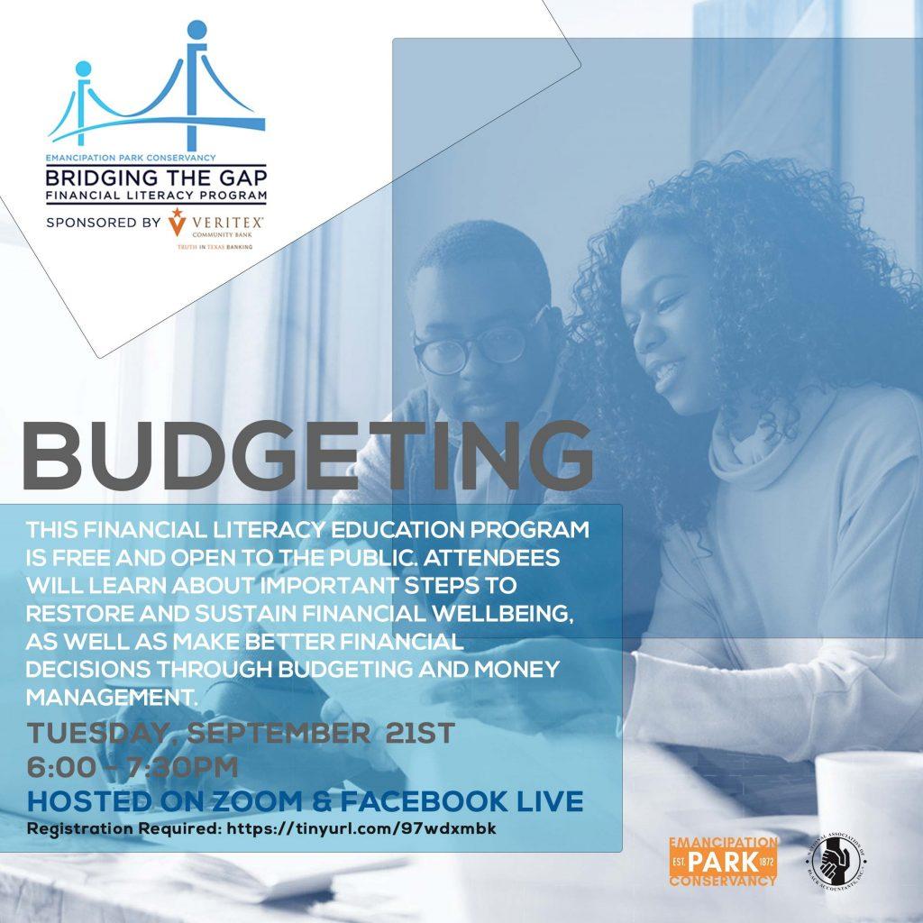 Bridging the Gap Financial Literacy Program: Budget sponsored by Veritex Community Bank